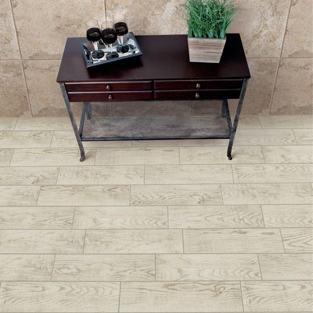 MARAZZI Montagna White Wash 6 in. x 24 in. Glazed Porcelain Floor ...