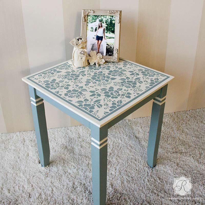 Painted Furniture With Flower Stencils   Spring Rose Blossoms Furniture  Stencils   Royal Design Studio