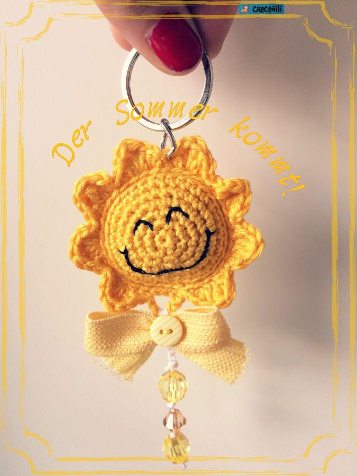 Choconili Sonne Blume Schlüsselanhänger Amigurumi Crochet