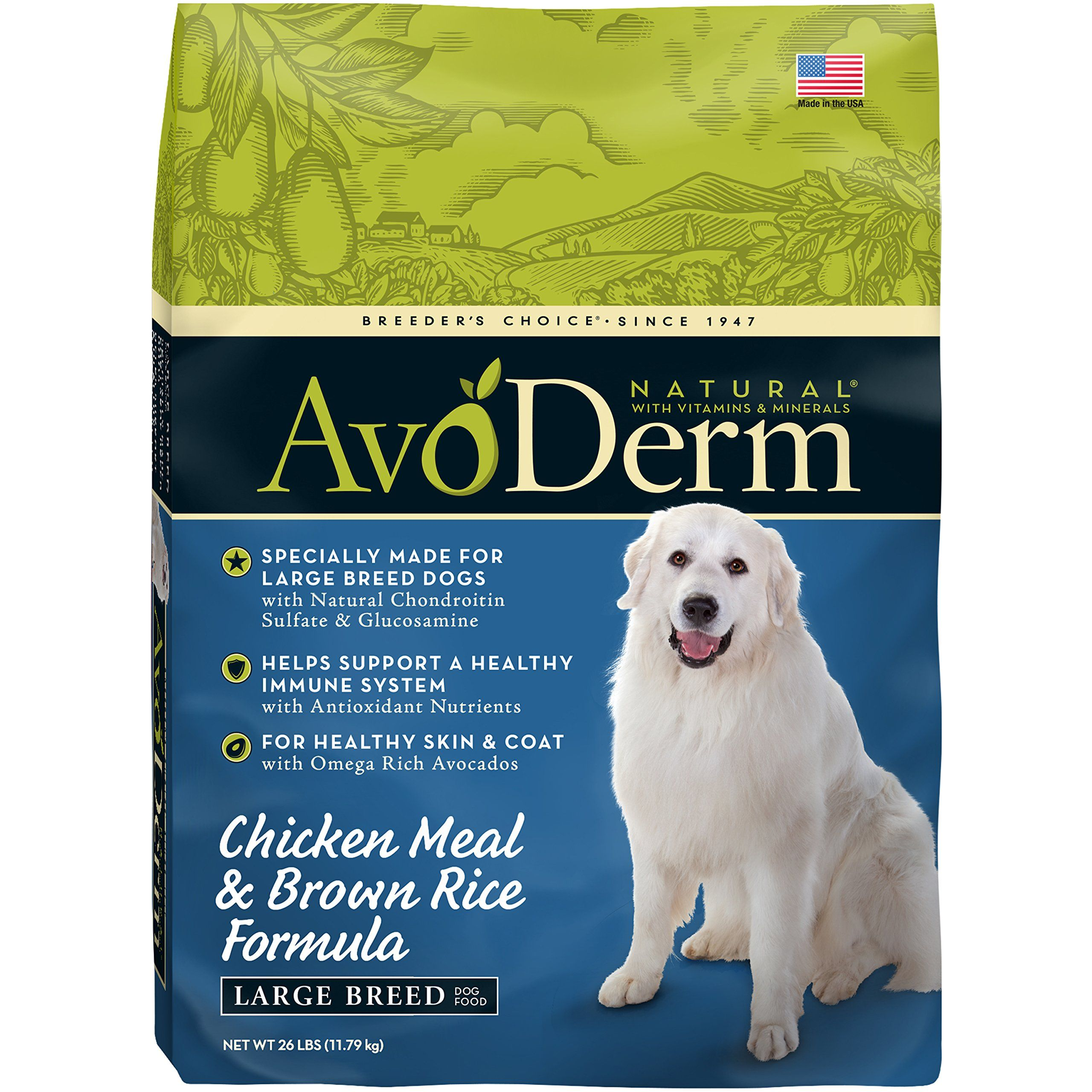 Avoderm natural large breed dry dog food chicken meal and