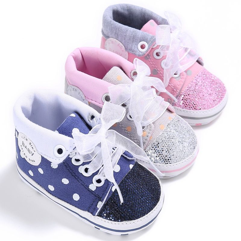 Kid Baby Boys Girls Spring Lace Up Toddler Soft Sole Non-slip Canvas Crib Shoes Sneaker 0-18 M Baby Shoes