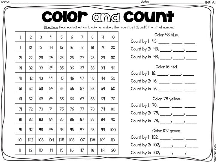 The 120 Chart, printable practice, First 1st grade Ready