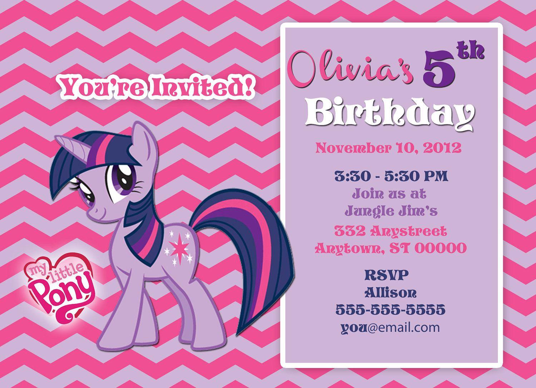 My Little Pony Customize-It Birthday Invitation - Twilight Sparkle ...