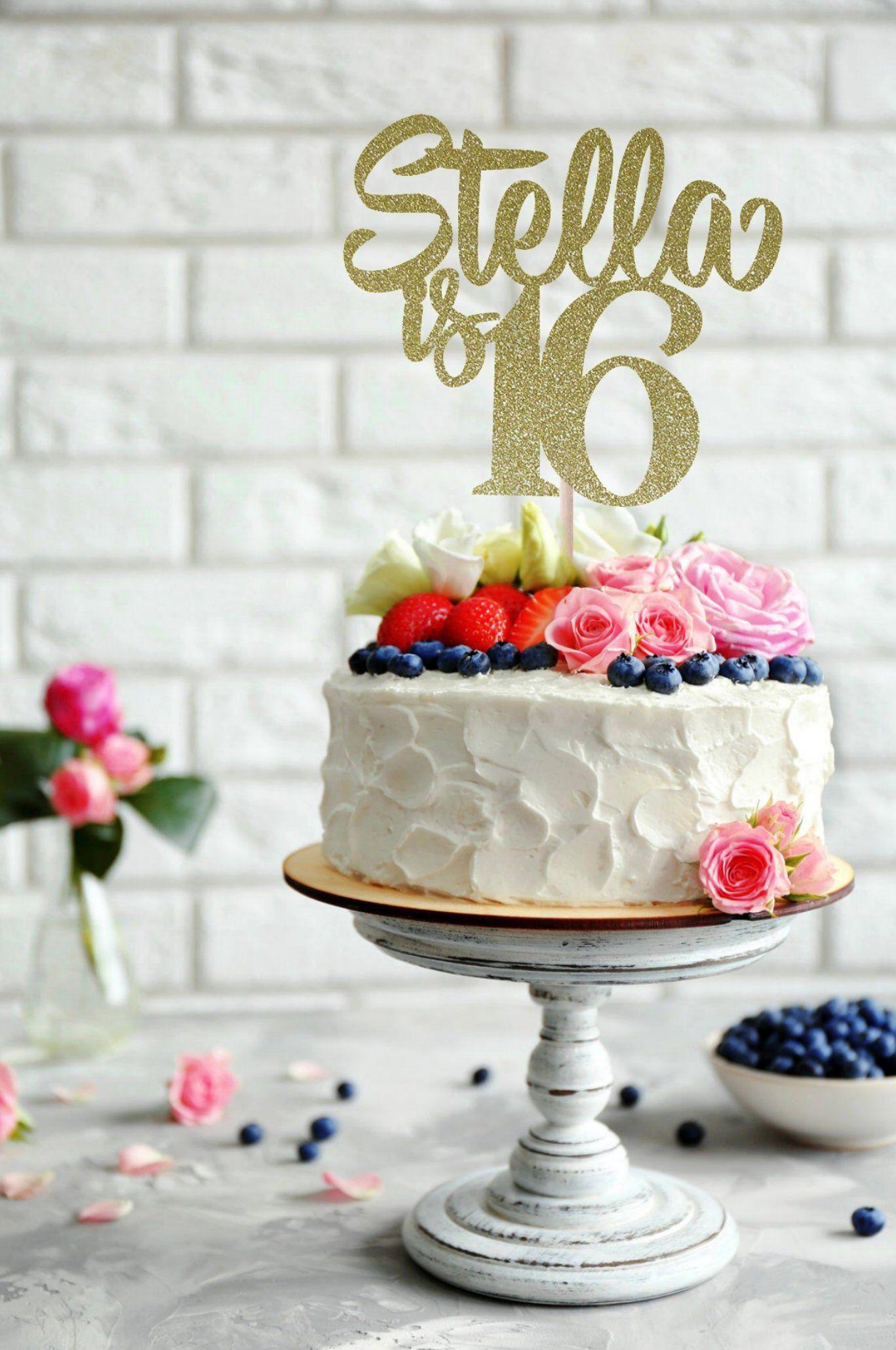 Peachy Any Name Happy 16Th Birthday Cake Topper 16Th Birthday Birthday Funny Birthday Cards Online Ioscodamsfinfo