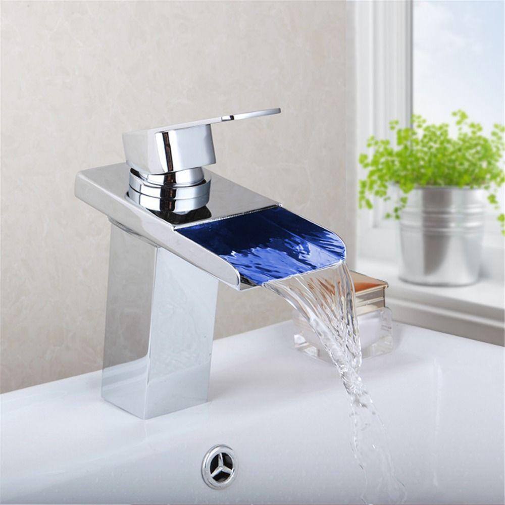LED Bathroom Single Handle Basin Sink Faucets Waterfall Spout ...
