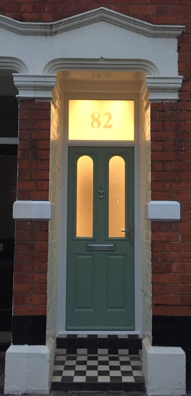Chartwell Green Front Door With Satin Finish Frosted Glass Front