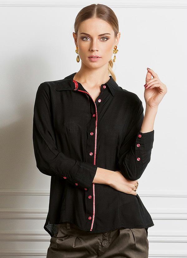 88bf1ddd4f Camisa Feminina Mullet Preto - Quintess Camisas Sociais