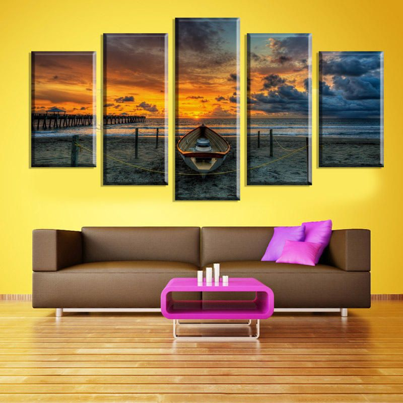 5 Cascade The Sea Sunset Canvas Wall Painting Picture Home ...