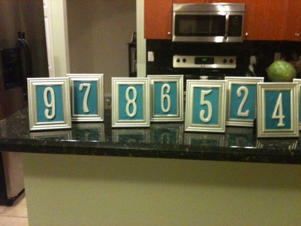 Picture Frame Table Numbers with Wood and Fabric : wedding blue ...