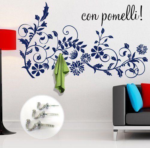 adesivo murale ramo fiorito appendiabiti misure 120x70