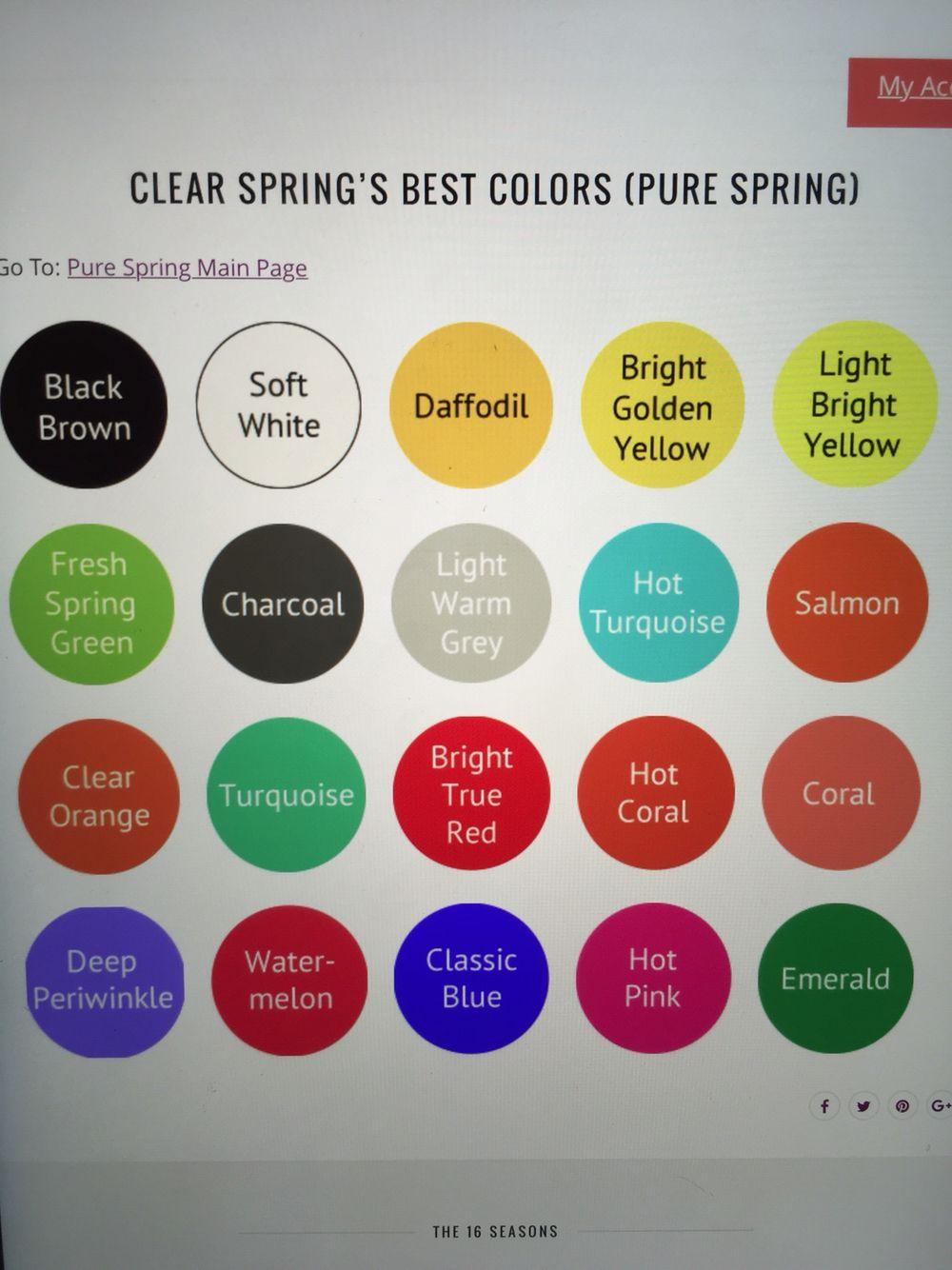 Clear Spring Colors Clear Spring Spring Colors Spring Color