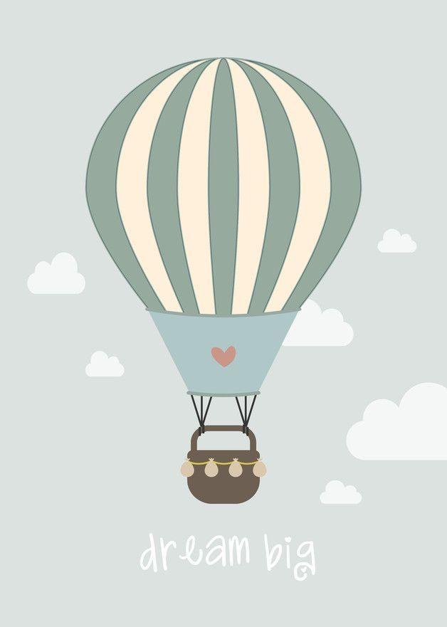 Poster Kinderzimmer Heißluftballon   Prints
