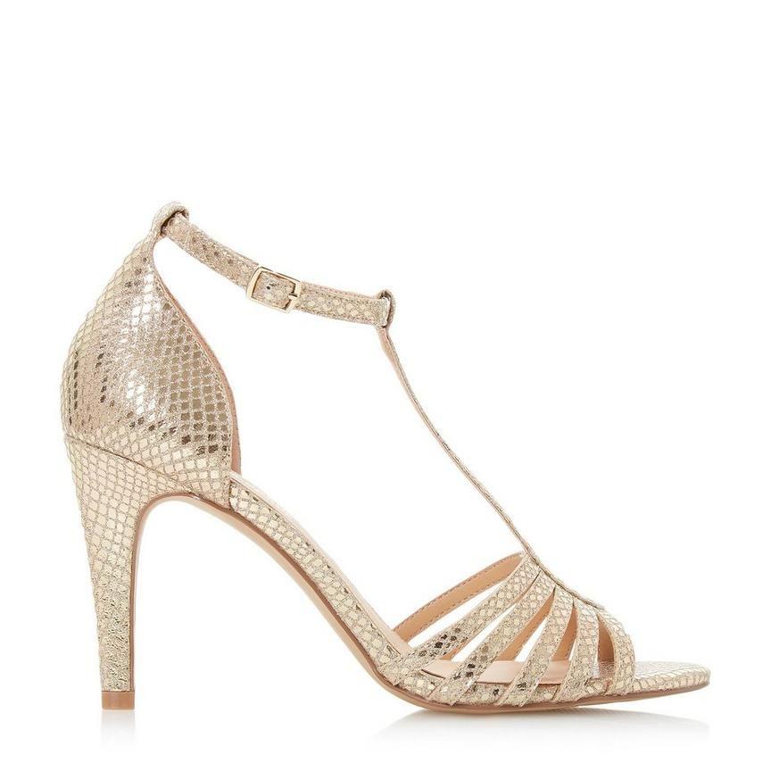 84aa3b2e3f5 MICHELE - T Bar Mid Stiletto Heel Sandal - gold