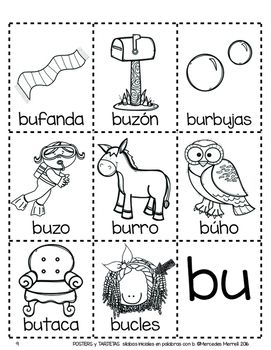 Posters Y Tarjetas De Silabas Iniciales En Palabras Con B En Espanol Spanish Lessons For Kids Language Activities Letter Activities