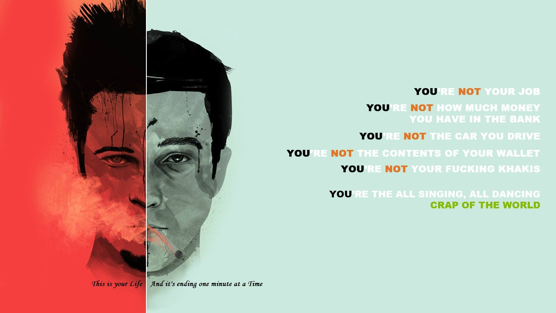 You Are Not Your Job Fight Club Fight Club Quotes Fight Club 1999 Fight club desktop wallpaper hd