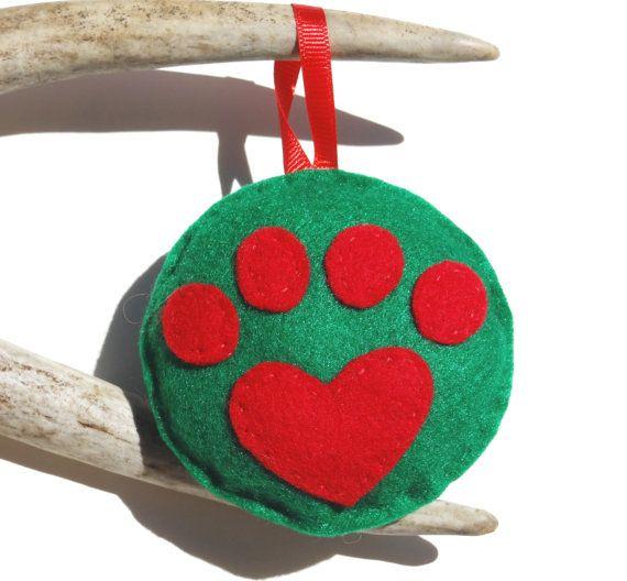 Heart Paw Print Christmas Ornament  Felt Christmas Ornament  Dog
