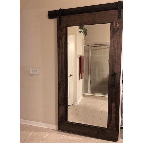 Introducing The Reclaim Rustic Framed Mirror Sliding Barn Door By Rustic Luxe If You Are Looking T Mirror Barn Door Modern Framed Mirrors Framed Mirror Design