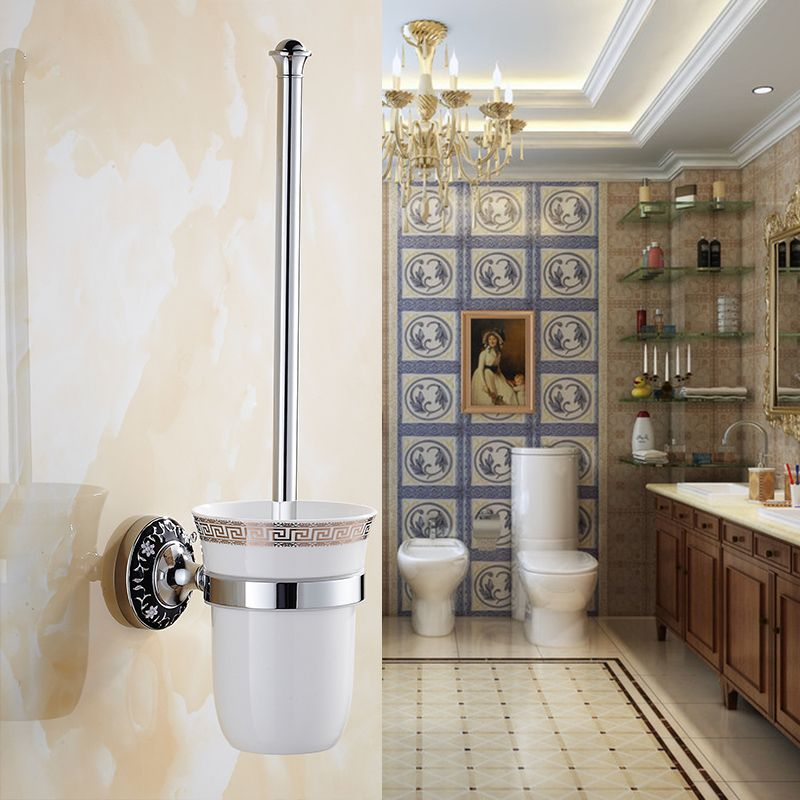 Antique Carved Copper Chrome Bathroom Pendant Brush And Ceramic Holders European Toilet Holder Accessories