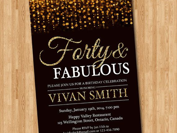40th Birthday Invitation For Women Forty And By Arthomer On Etsy 40th Birthday Invitations 50th Birthday Invitations 50th Birthday Party Invitations