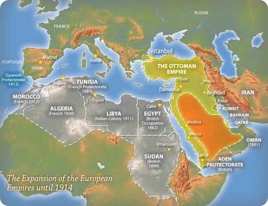 Colonial powers in the Middle East and North Africa  Middle East