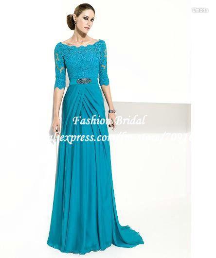 FM176 Elegant Off The Shoulder Half Sleeve Turquoise Lace Mother ...