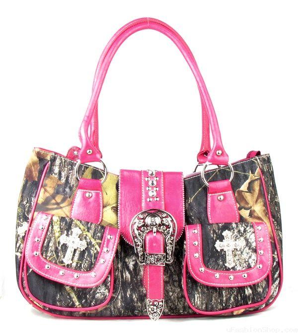 Pink Camouflage Buckle Cross Rhinestone Handbag