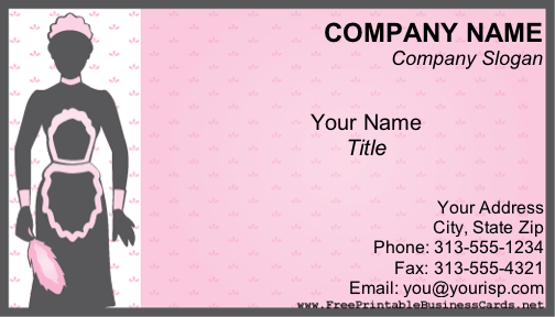 A maid in grey and pink illustrates this printable business card a maid in grey and pink illustrates this printable business card this card would be reheart Image collections