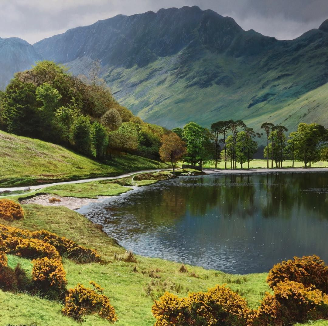 20 X 20 Oil Painting On Panel The Lake District Art Landscape Oilpainting Artist Art Michael James Smith Landscape Paintings Landscape Art