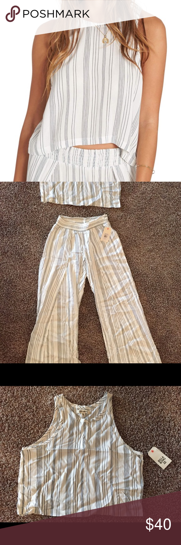 Billabong sweet flutter tank + wandering soul pant SUPER cute, lightweight, and soft summery outfit. Perfect for hot days, the beach, or lounging around :) BRAND NEW WITH TAGS! Purchased full price for $80.00 Billabong Tops Tank Tops