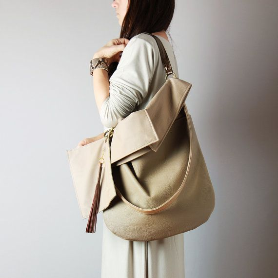 Beige leather hobo bag in natural leather - beige leather tote bag, slouchy bag, soft bag, color block bag