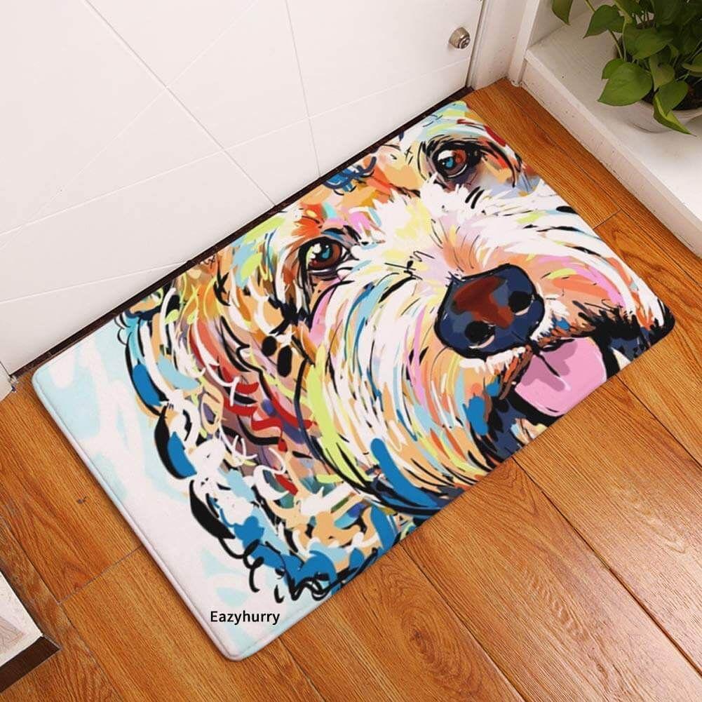 Colorful Doodle Door Mat Doodle Doods In 2020 Dog Flooring Dog Door Mat Colorful Dog Paintings