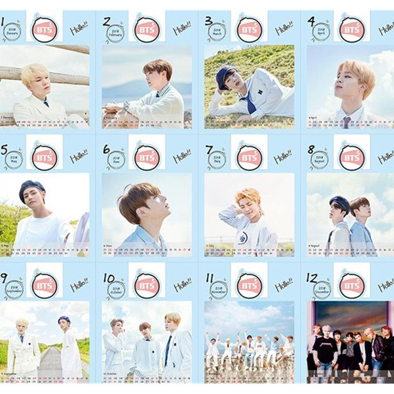 Kpop BTS Bangtan Ragazzi Dell'esercito Bomba 2018 Calendario Da Tavolo Mini Foto Album fotografico Jimin Suga V Rap Mostro Fan Made Carte Z7092029