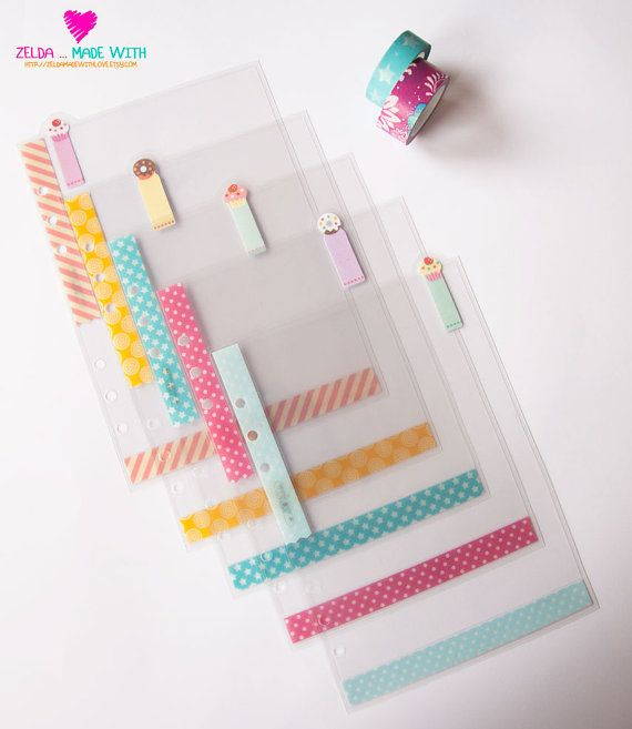 A5 Filofax  5 Clear Dividers Top Tabs  by ZeldaMadeWithLove