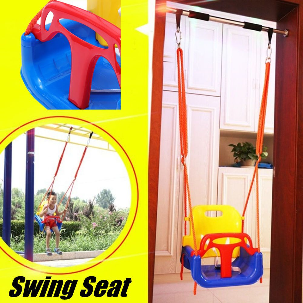 In toddler baby kids high back rope swing seat adjustable safety