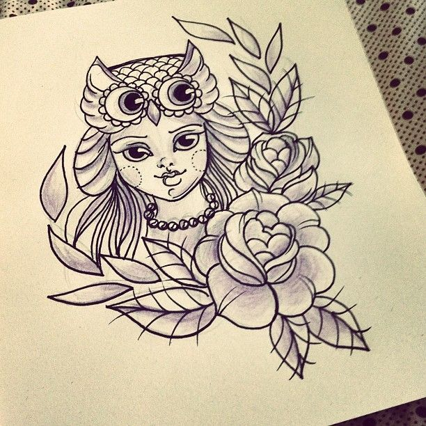 work ink draw tattoo owl roses girl tattoo id233ias