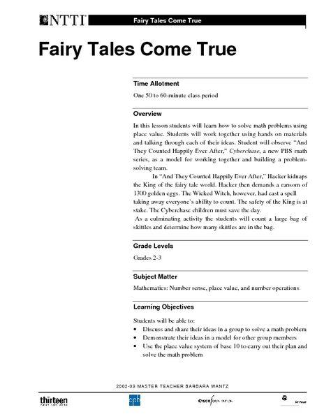 Fairy Tales Come True Lesson Plan Lesson Planet – Fairy Tale Lesson Plans