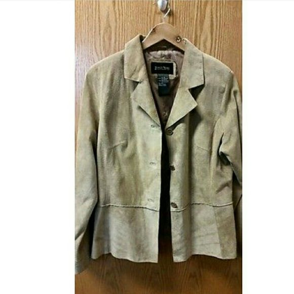 Suede jacket BRANDON THOMAS Light Genuine Leather Suede Jacket Beige Tan brandon thomas Jackets & Coats