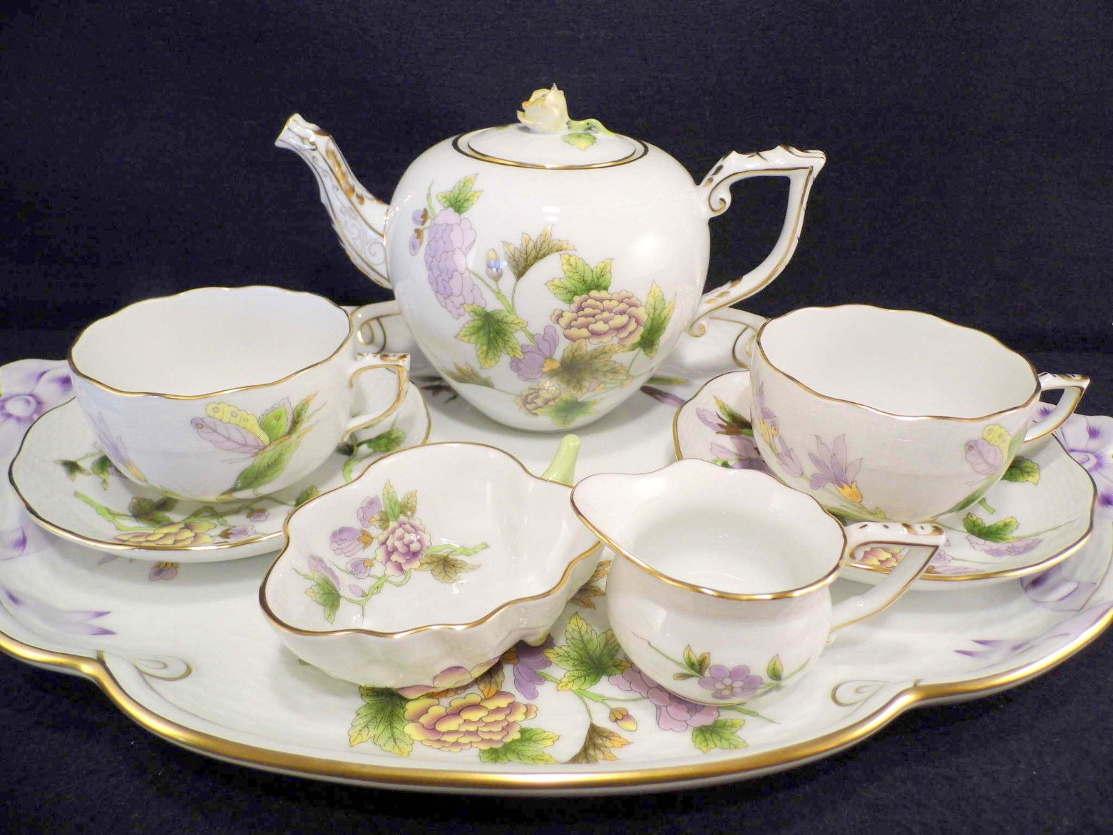 Herend Queen Victoria Royal Garden Tea For Two Teapot With