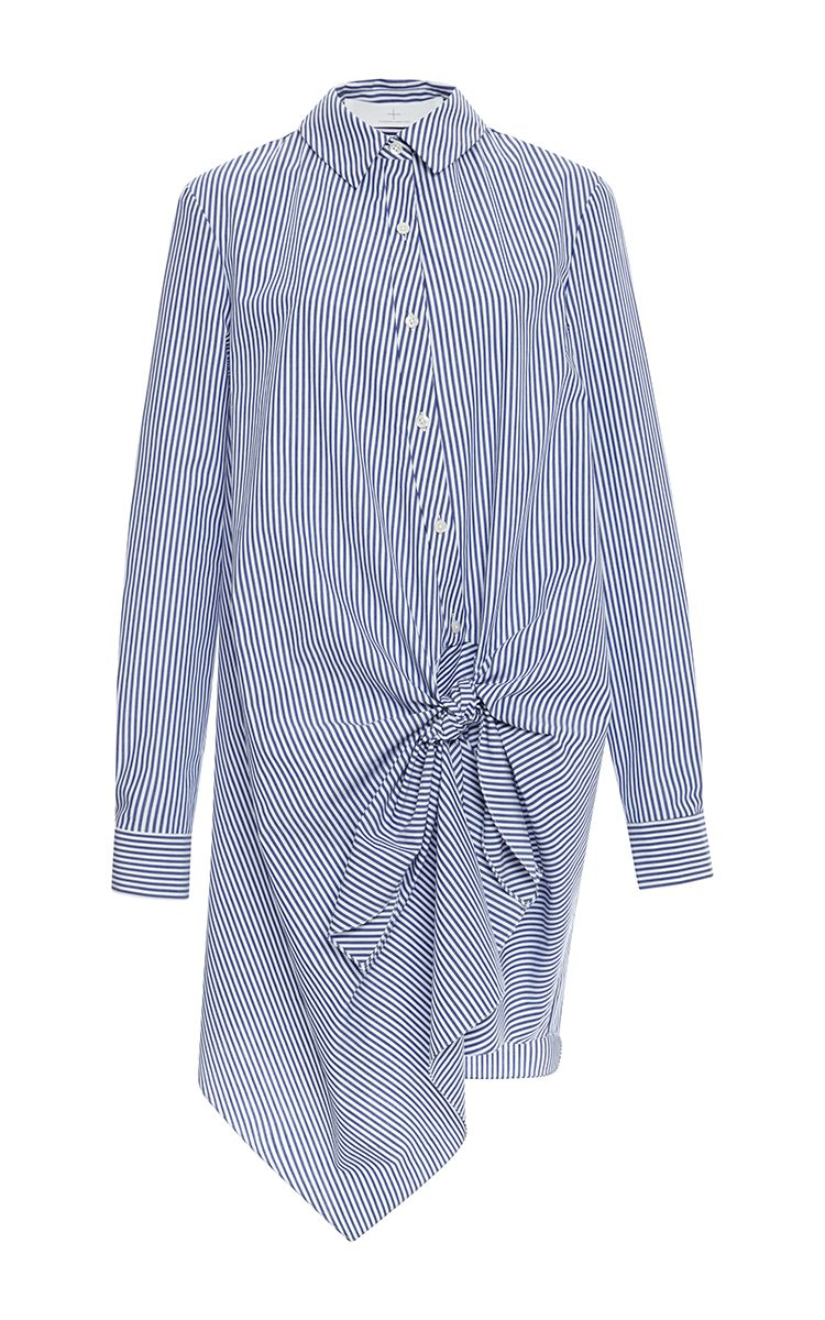 Striped Shirting Side Tie Dress by Thakoon Addition for Preorder on Moda Operandi