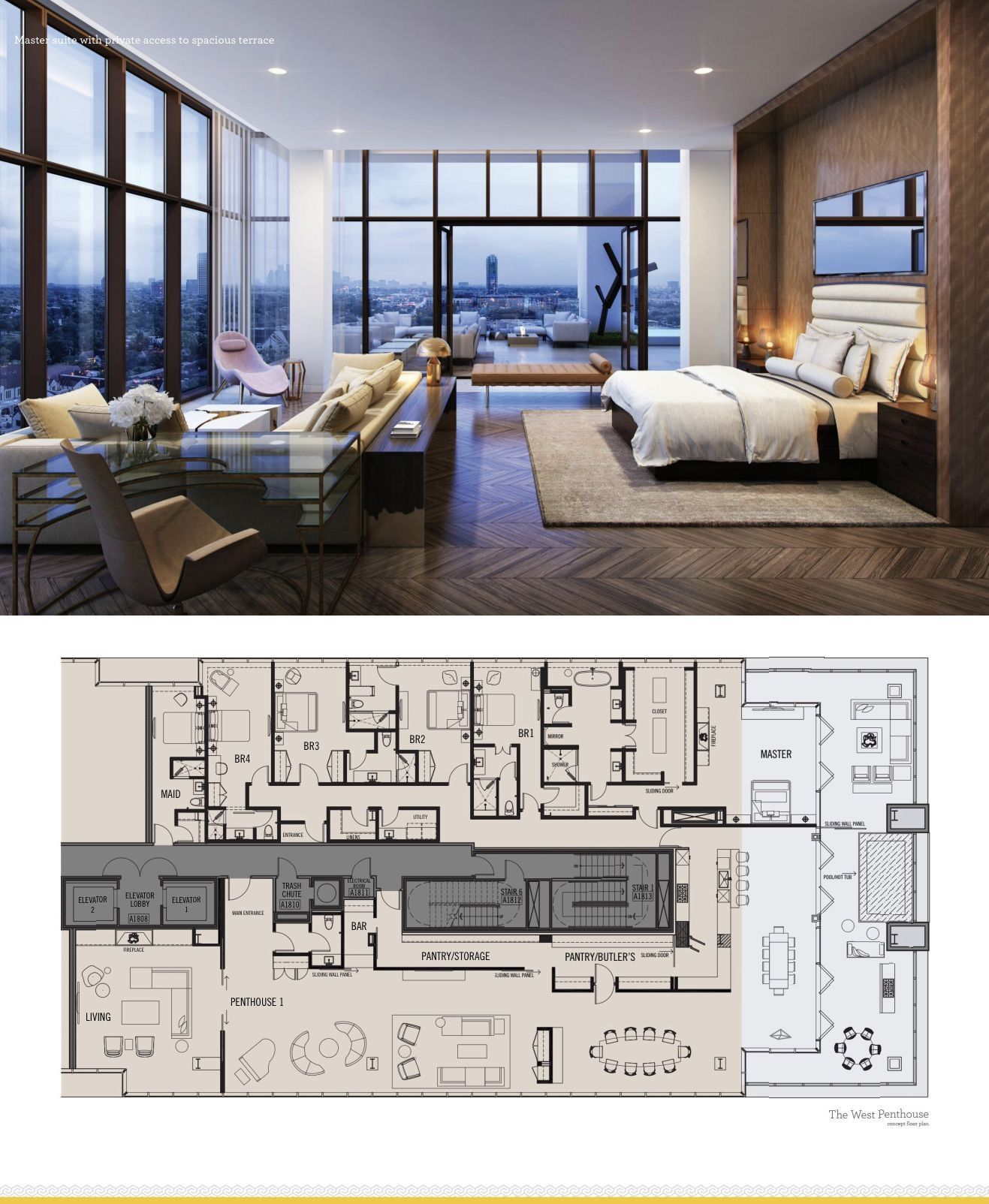 The River Oaks Houston The West Penthouse Luxury Floor Plans Condo Design Luxury Living Room Design