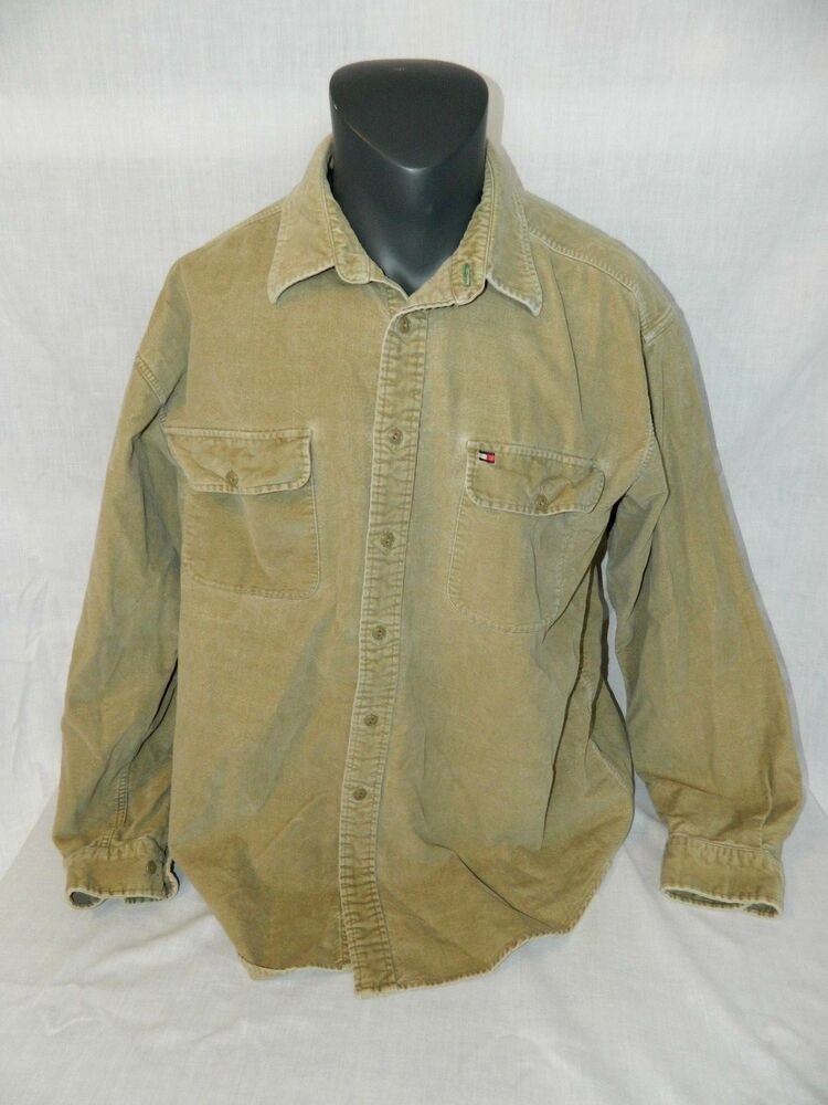 2035ed79 VTG Tommy Hilfiger Velour Shirt Mens XL Tan Button Front long sleeve thick  90's #TommyHilfiger #ButtonFront
