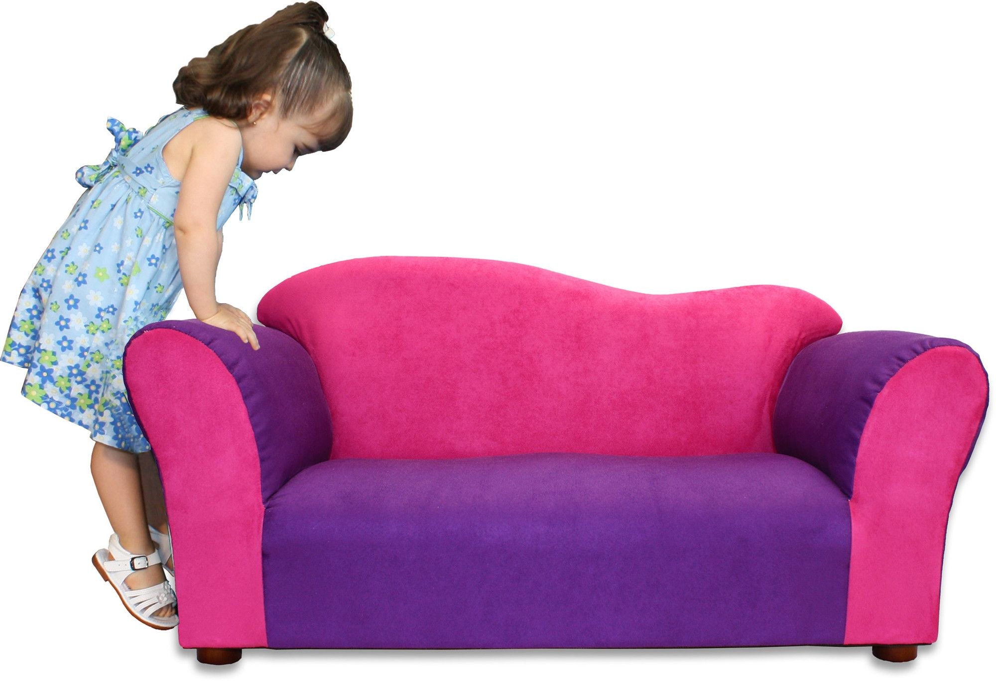sofa chair for baby girl donate my to charity purple and pink microsuede toddler 3 year old girls