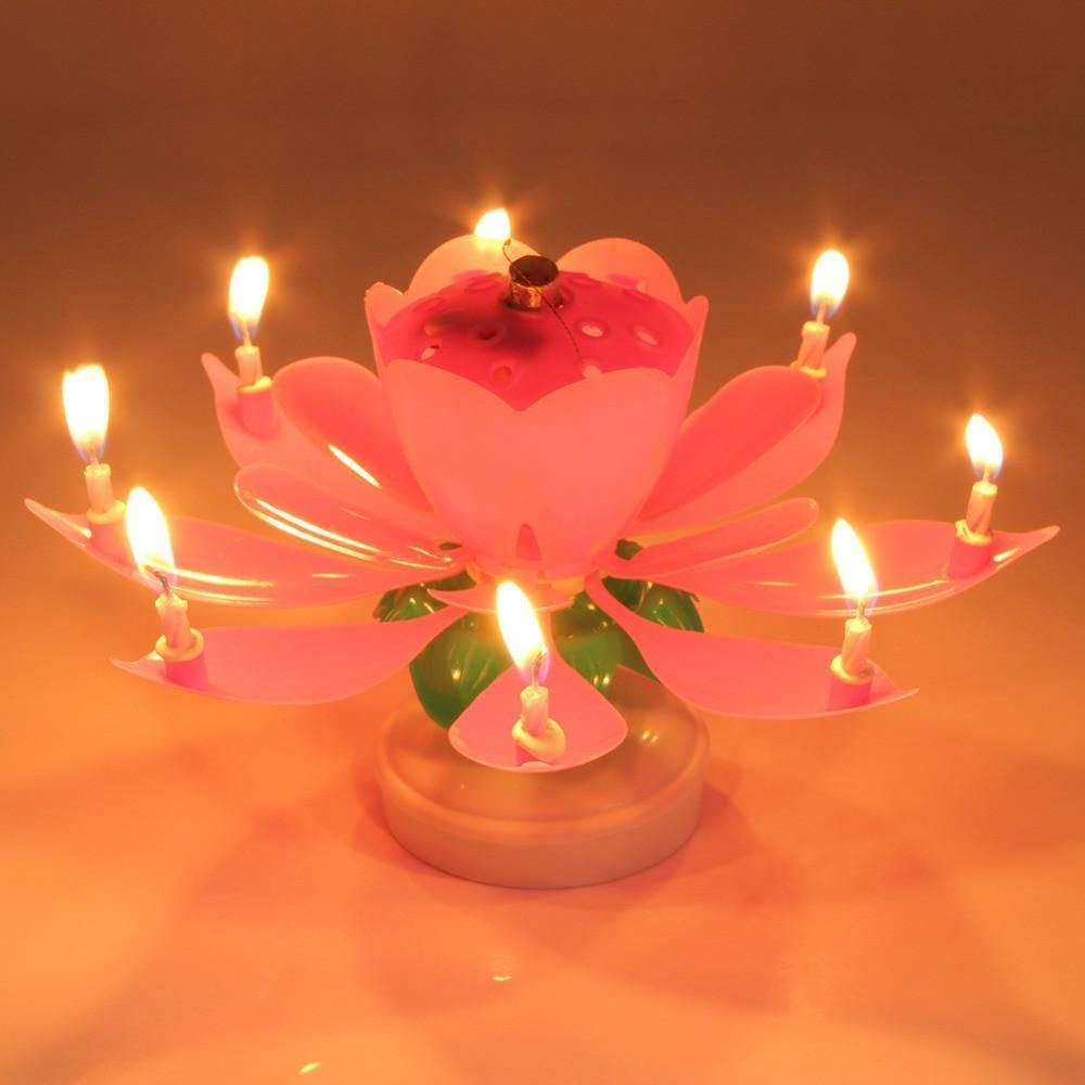Musical Candle Blooming Lotus Flower Candles Light  Birthday Party Decor