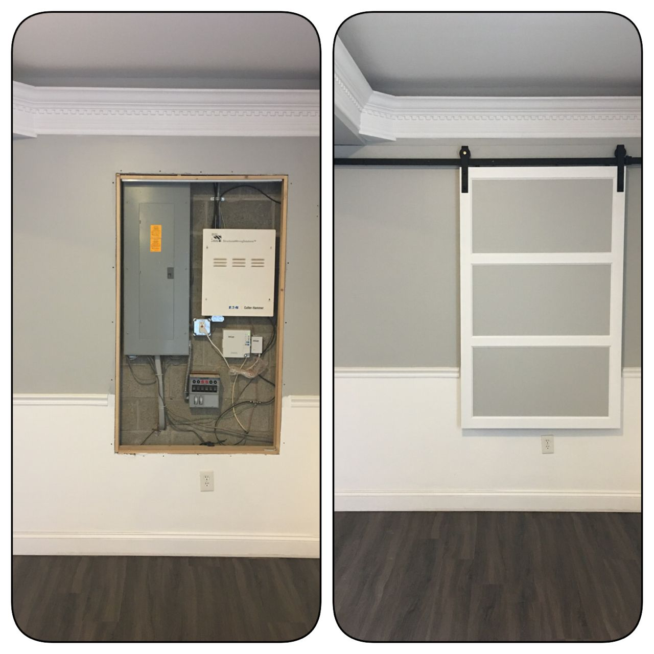 Modern Barn Door to cover fuse box