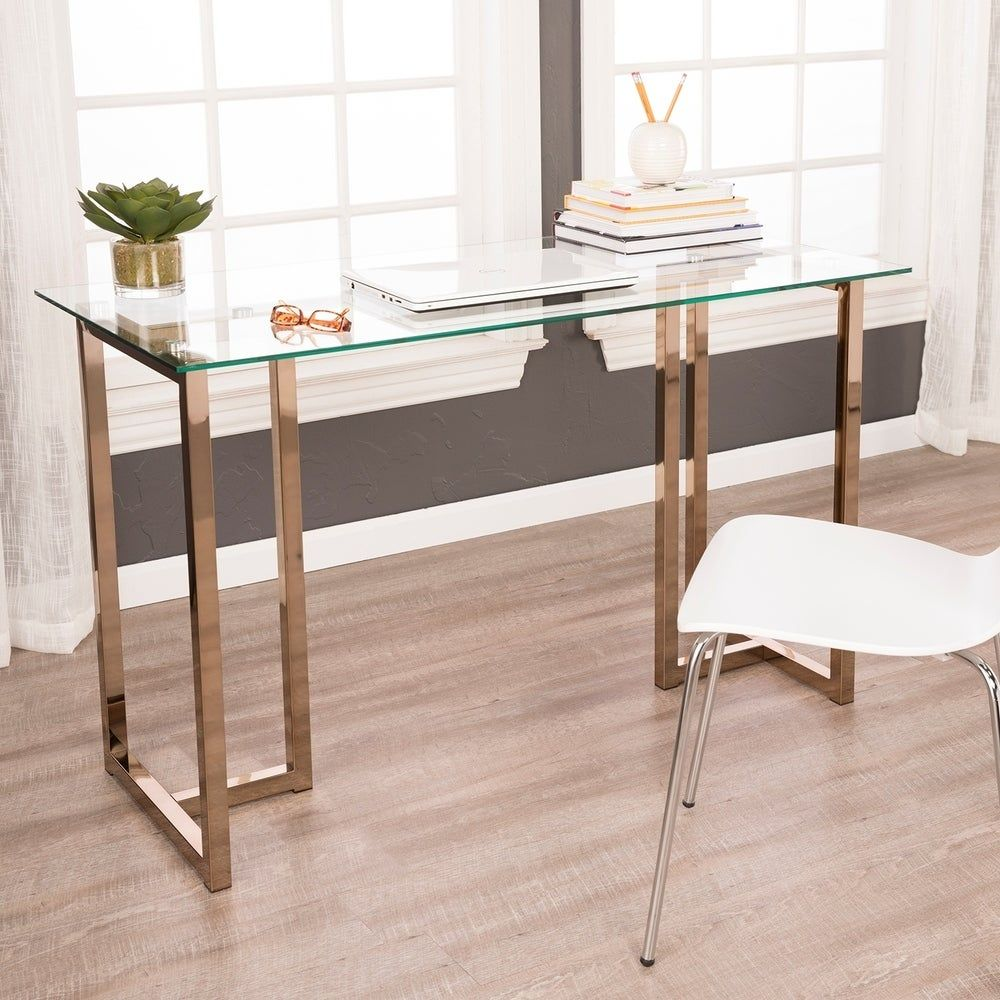 Holly Martin Haxor Champagne Writing Desk In 2020 Home Office Furniture Glass Desk Furniture