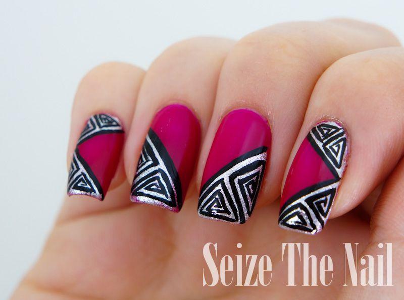 Triangular aztec pattern nail art | Nail Art | Pinterest | Pattern ...