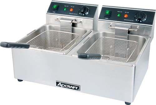 Adcraft Double Tank Deep Fryer 120v Df 6l2 Kitchen Countertops