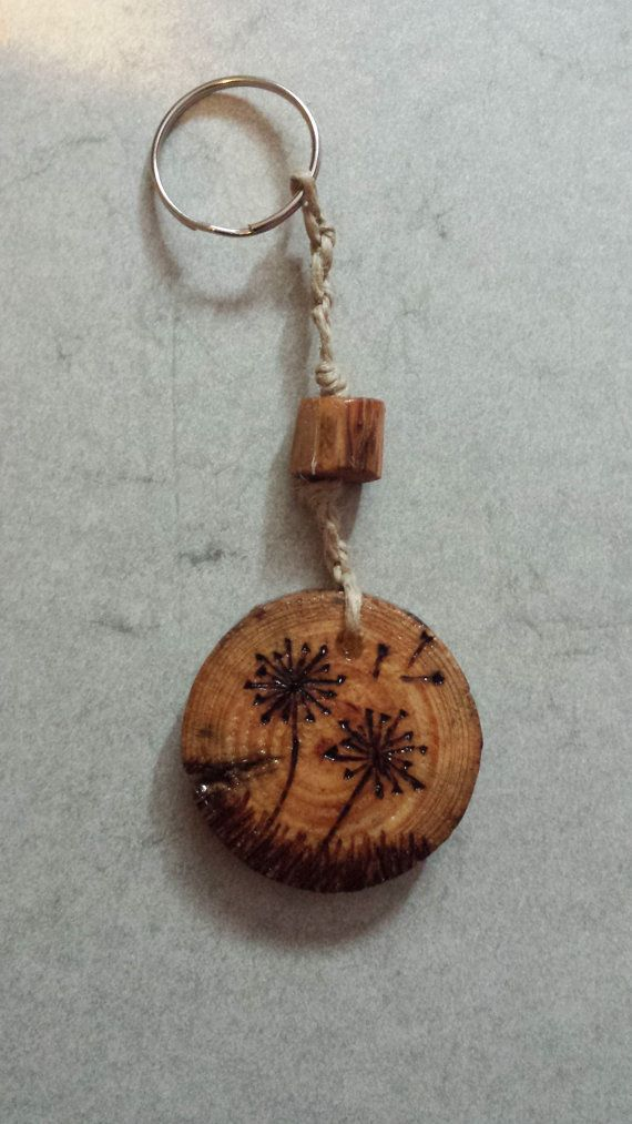 Prsonalized Dandelion Wood Keychain $7 by TheWhittlingWoodsman