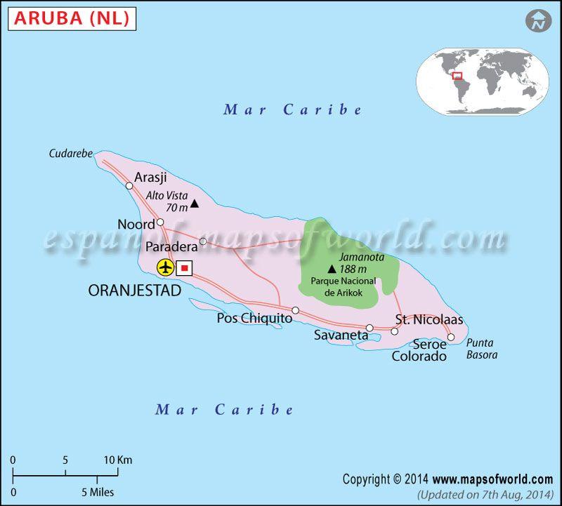 Aruba Mapa in 2019 | Mapa de Países | Aruba map, Map, Geography