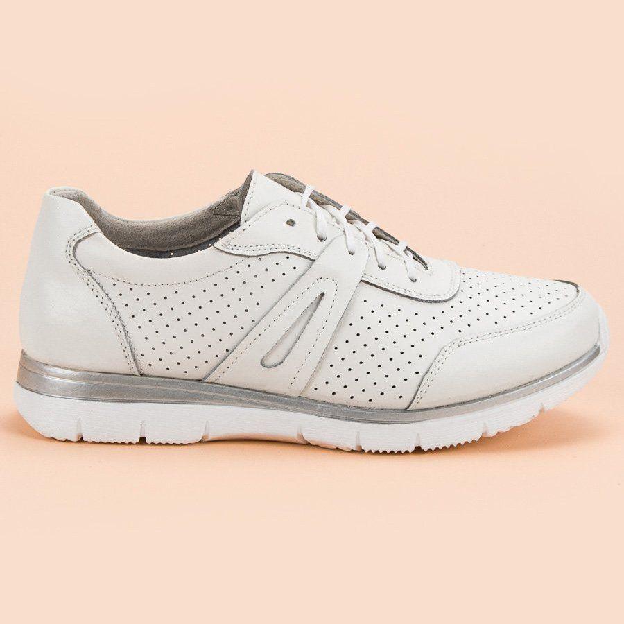 Sportowe Damskie Filippo Filippo Biale Skorzane Buty Sportowe Shoes Sneakers Fashion